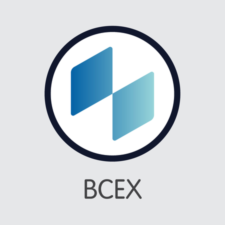 Exchange - Bcex. The Crypto Coins or Cryptocurrency Logo. Market Emblem, Coins ICOs and Tokens Icon.