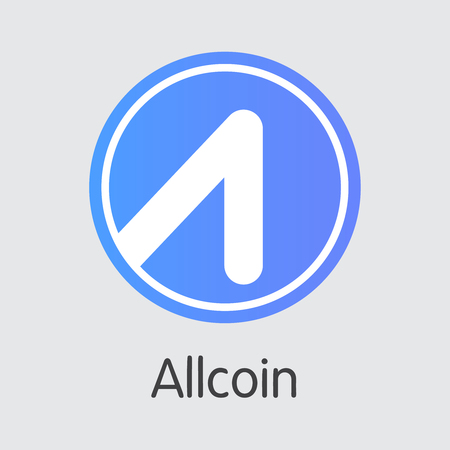 Exchange - Allcoin. The Crypto Coins or Cryptocurrency Logo. Market Emblem, Coins ICOs and Tokens Icon.