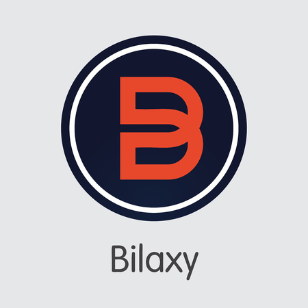 Exchange - Bilaxy Copy. The Crypto Coins or Cryptocurrency Logo. Market Emblem, Coins ICOs and Tokens Icon.