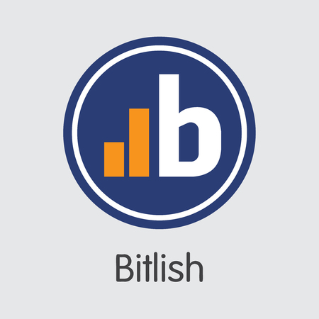 Exchange - Bitlish. The Crypto Coins or Cryptocurrency Logo. Market Emblem, Coins ICOs and Tokens Icon.