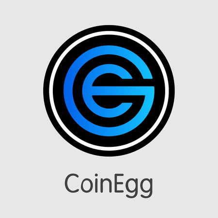 Exchange - Coinegg. The Crypto Coins or Cryptocurrency Logo. Market Emblem, Coins ICOs and Tokens Icon.