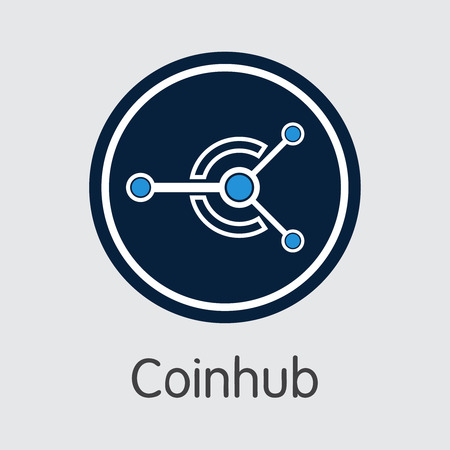 Exchange - Coinhub. The Crypto Coins or Cryptocurrency Logo. Market Emblem, Coins ICOs and Tokens Icon. Banco de Imagens - 126739130