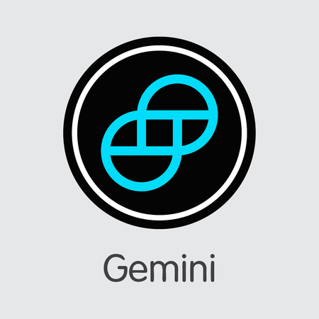 Exchange - Gemini. The Crypto Coins or Cryptocurrency Logo. Market Emblem, Coins ICOs and Tokens Icon. Banco de Imagens - 126739135