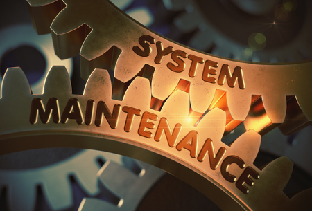 System Maintenance on Golden Cogwheels. 3D Illustration. Archivio Fotografico