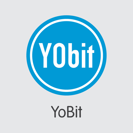Exchange - Yobit. The Crypto Coins or Cryptocurrency Logo. Market Emblem, Coins ICOs and Tokens Icon.