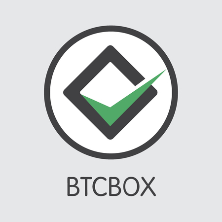 Exchange - Btcbox. The Crypto Coins or Cryptocurrency Logo. Market Emblem, Coins ICOs and Tokens Icon.