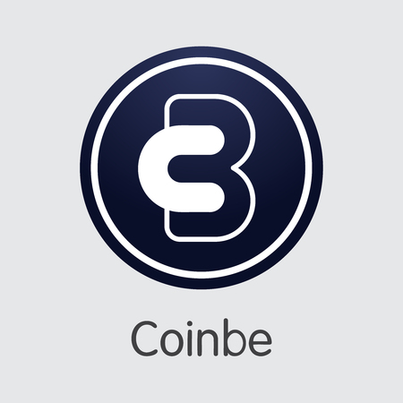 Exchange - Coinbe. The Crypto Coins or Cryptocurrency Logo. Market Emblem, Coins ICOs and Tokens Icon.