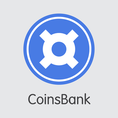 Exchange - Coinsbank Copy. The Crypto Coins or Cryptocurrency Logo. Market Emblem, Coins ICOs and Tokens Icon. Ilustração