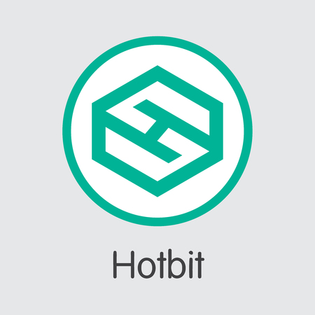 Exchange - Hotbit Copy. The Crypto Coins or Cryptocurrency Logo. Market Emblem, Coins ICOs and Tokens Icon. Ilustração