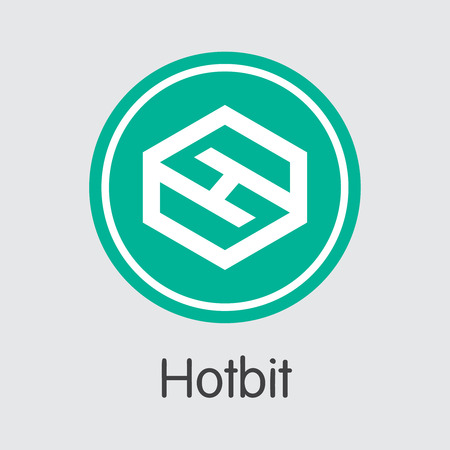Exchange - Hotbit. The Crypto Coins or Cryptocurrency Logo. Market Emblem, Coins ICOs and Tokens Icon.