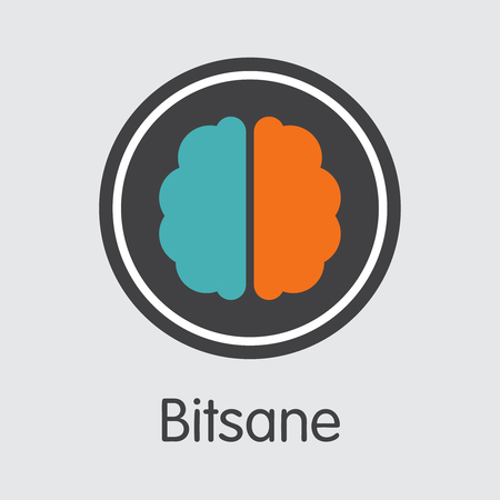 Exchange - Bitsane Copy. The Crypto Coins or Cryptocurrency Logo. Market Emblem, Coins ICOs and Tokens Icon. Ilustração