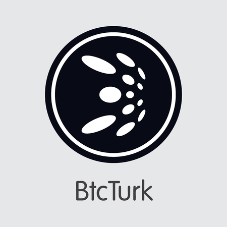 Exchange - Btcturk Copy. The Crypto Coins or Cryptocurrency Logo. Market Emblem, Coins ICOs and Tokens Icon. Ilustração