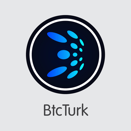Exchange - Btcturk. The Crypto Coins or Cryptocurrency Logo. Market Emblem, Coins ICOs and Tokens Icon. Banco de Imagens - 126665242