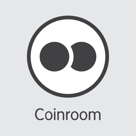 Exchange - Coinroom. The Crypto Coins or Cryptocurrency Logo. Market Emblem, Coins ICOs and Tokens Icon. Illustration