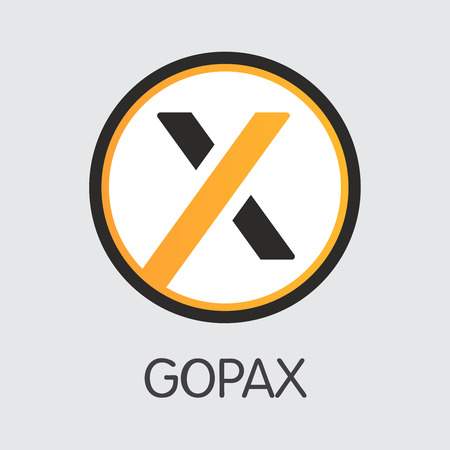 Exchange - Gopax Copy. The Crypto Coins or Cryptocurrency Logo. Market Emblem, Coins ICOs and Tokens Icon. Banco de Imagens - 126665247