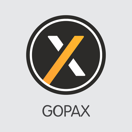Exchange - Gopax. The Crypto Coins or Cryptocurrency Logo. Market Emblem, Coins ICOs and Tokens Icon.