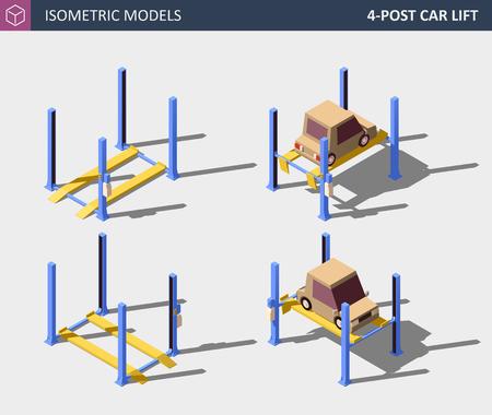 Four Post Car Lift. Vector Isometric Auto Service Equipment Concept. Ilustração