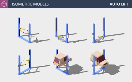 Car Lift. Vector Isometric Auto Service Equipment Concept.