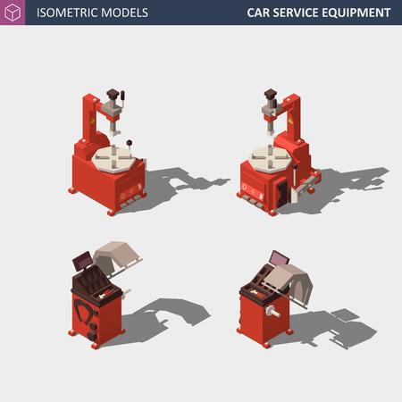 Car Service Equipment Set. Includes Tire Balancer and Tire Changer. Vector Isometric Illustration. Ilustração