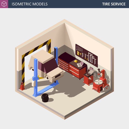 Vector Isometric Auto or Car Service Center Illustration. Includes 2 Post Car on Lift, Automobile Service Equipment and Tools. Ilustração