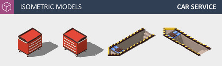 Car Service Equipment Set. Includes Work Bench and Garage Pit. Vector Isometric Illustration.