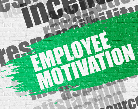 Employee Motivation on the Brickwall. Wordcloud Concept. 写真素材
