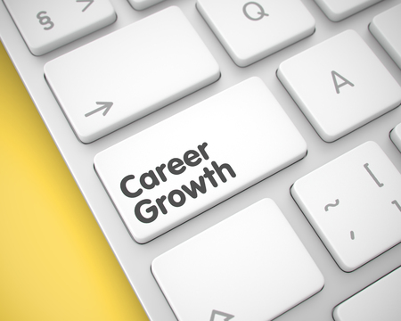Career Growth - Text on White Keyboard Keypad. 3D.