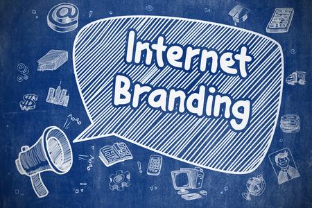 Internet Branding - Doodle Illustration on Blue Chalkboard. Stockfoto