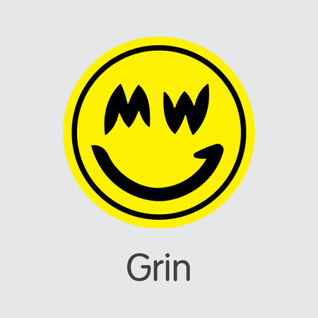 GRIN - Grin. The Market Logo of Coin or Market Emblem.