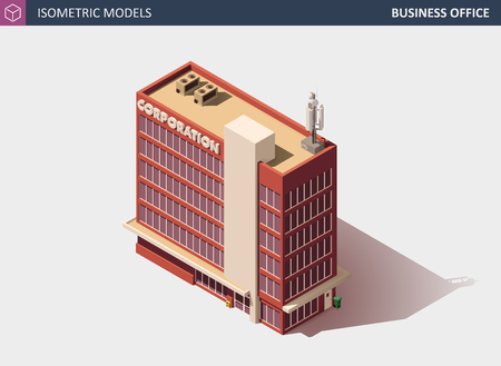 Business Office or Commercial Building with Shadow, Isolated on White - Vector Isometric Illustration.