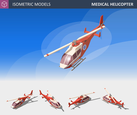 Isometric Medical Helicopter Evacuation. Air Medical Service.