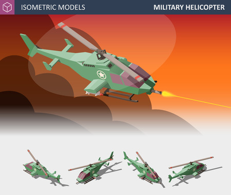 Isometrisches einmotoriges Angriffshubschrauber-Set. Militärischer Lufttransport.