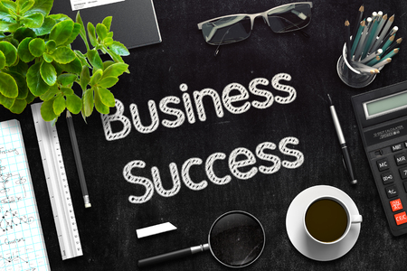 Business Success Concept on Black Chalkboard. 3D Rendering.
