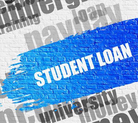 Student Loan on White Brickwall. Wordcloud Concept. Stock Photo