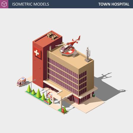 Hospital or Ambulance Building. Isometric Flat Style Vector Illustration. Vector Illustration
