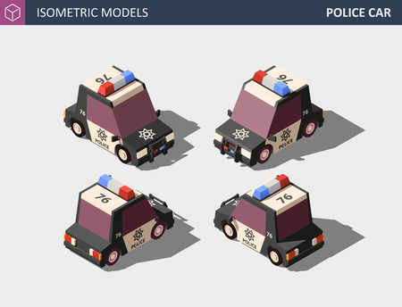 Isometric Police Car, Police Cruiser, Prowler, Squad Car, Radio Mobile Patrol RMP with Rooftop Flashing Lights and Emblems. Isometric High Quality Element. EPS 10 Vector. Flat Style Illustration. Stock Illustratie