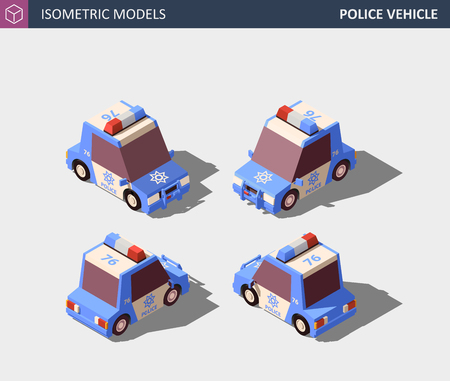 Isometric Blue Police Vehicle. Isometric High Quality Vector.