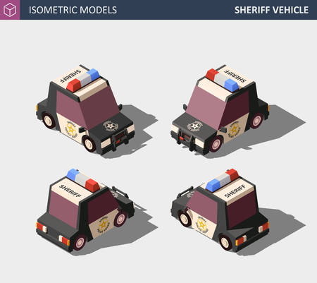 Isometric Sheriff Car. Isometric High Quality Vector.