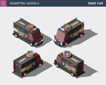 Isometric Police Van. Armored Special Forces Vehicle with Rooftop Flashing Lights and Emblems. SWAT Isometric High Quality Element. EPS 10 Vector. Flat Style Illustration.