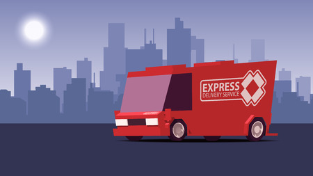 Cartoon Comic Styled Side View Red Delivery Car or Cargo Truck on Blue Cityscape Background. IsoFlat Styled Vector Illustration. Ilustração