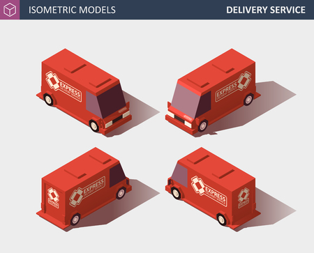 Red Cargo Truck Transportation. Fast Delivery or Logistic Transport. Template Vector Isolated on White. Isometric High Quality Element. EPS 10 Vector. Flat Style Illustration. Ilustração