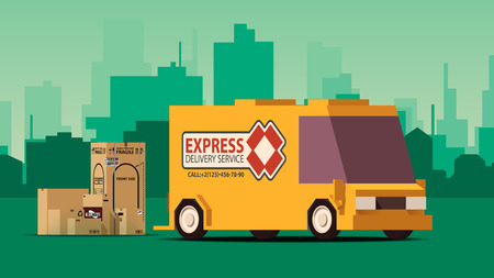 Side View Orange Delivery Car or Cargo Truck with Row of Boxes on Green Landscape Background. IsoFlat Styled Vector Illustration.