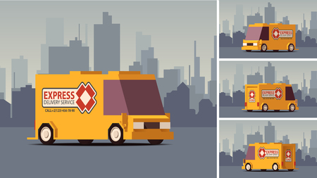 Side View Orange Delivery Car or Cargo Truck on Grey Landscape Background. IsoFlat Styled Vector Illustration.