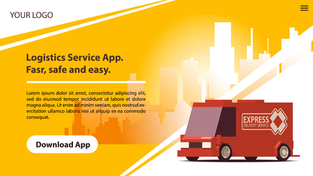 Delivery Services Mobile App with Comic Red Car.