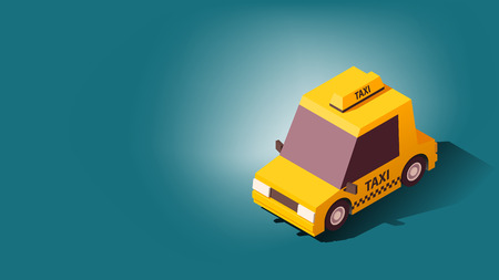 Cartoon Yellow Taxi Car or Old Taxi Cab. Transportation or Traveling Concept on Blue Background.