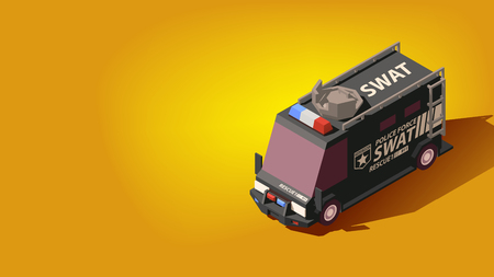 Isometric Black SWAT or Police Force Car. High Quality Element on Yellow Background. EPS 10 Vector. Flat Style Illustration.