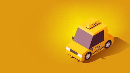 Cartoon Yellow Taxi Car. Transportation or Traveling Concept on Yellow Background.