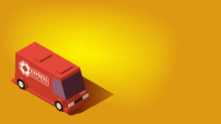 Low Poly Red Express Delivery Car. Logistics or Relocation Concept on Yellow Background. Çizim