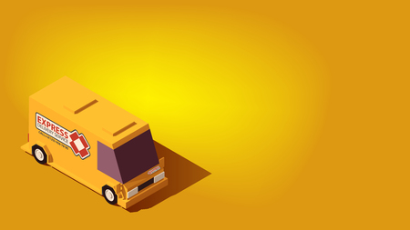 Cute Yellow Express Delivery Car Van. Logistics or Relocation Isometric Concept on Yellow Background.