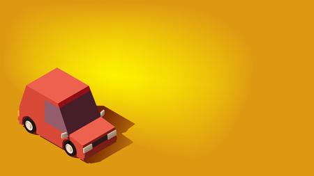 Cute Red Hatchback Car. Logistics or Transportation or Traveling Concept on Yellow Background. Ilustração